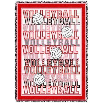 Volleyball Words Afghan - Red