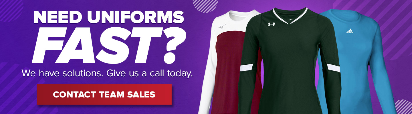 Need uniforms fast? We have solutions. Give us a call today. Contact Team Sales