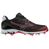 Mizuno Men's 9-Spike Dominant 2 Low Metal Cleat Black/Red