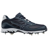 Mizuno Men's 9-Spike Dominant 2 Low Metal Cleat Navy/White