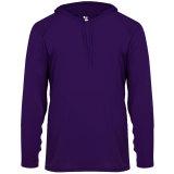 Badger Men's Long Sleeve Hood Tee Purple