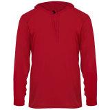 Badger Men's Long Sleeve Hood Tee Red
