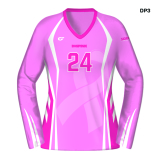 CustomFuze Women's Sublimated Pro Series Long Sleeve Jersey - Dig Pink