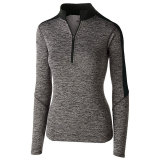 Holloway Women's Electrify 1/2 Zip Pullover Black Heather/Black