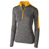 Holloway Women's Electrify 1/2 Zip Pullover Black Heather/Light Gold