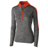 Holloway Women's Electrify 1/2 Zip Pullover Black Heather/Orange