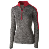 Holloway Women's Electrify 1/2 Zip Pullover Black Heather/Scarlet