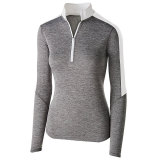 Holloway Women's Electrify 1/2 Zip Pullover Graphite Heather/White