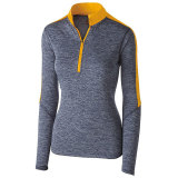 Holloway Women's Electrify 1/2 Zip Pullover Navy Heather/Light Gold