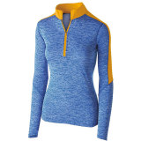 Holloway Women's Electrify 1/2 Zip Pullover Royal Heather/Light Gold