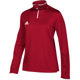 Adidas Women's Iconic 1/4 Zip Red