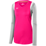 Mizuno Women's Balboa 5.0 Long Sleeve Jersey Shocking Pink/Grey/White