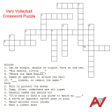 Very Volleyball Crossword Puzzle