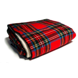 Royal Stewart Tartan Wool Throw with Sherpa Backing