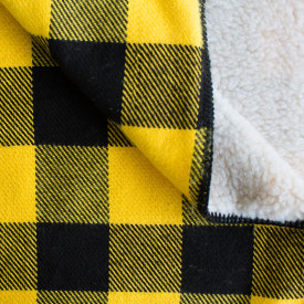 Rob Roy Cotton Throw with Sherpa Backing - Black/Gold