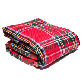 Royal Stewart Cotton Throw with Sherpa Backing