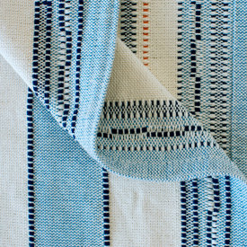 Amana Weave Throw Natural with Cornflower Stripes