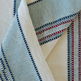 Amana Weave Throw Natural with Pewter Stripes
