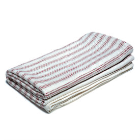 Vintage Ticking Bed Blanket -Bleach/Natural/Burgundy