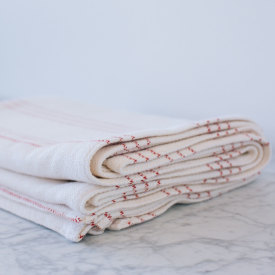 Modern Ticking Bed Blanket - Bleach/Natural/Burgundy