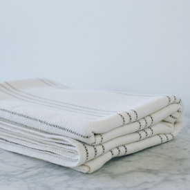 Modern Ticking Bed Blanket - Bleach/Natural/Brown