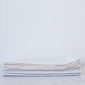 Modern Ticking Bed Blanket - Bleach/Natural/Navy