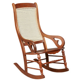 Amana Wooden Seat Rocker with Carving
