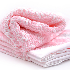 Diamond Weave Baby Blanket - Bleach/Pink
