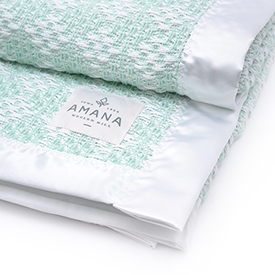 Diamond Weave Baby Blanket - Bleach/Mint