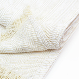 Natural Herringbone Cotton Blanket