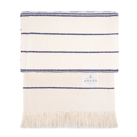 Amana Weave Throw Natural with Navy Stripes ... 27bd4d748