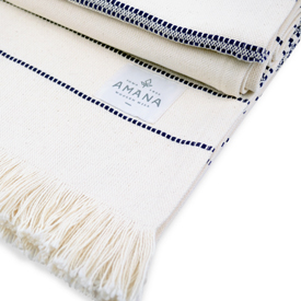 Amana Weave Throw Natural with Navy Stripes