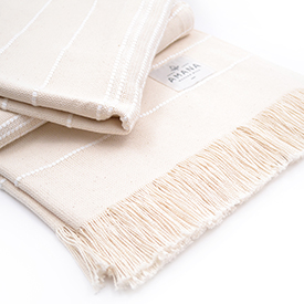 Amana Weave Throw Natural with White Stripes