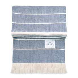 Amana Weave Throw Navy with Natural Stripes