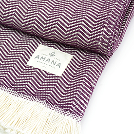Plum Herringbone Cotton Blanket