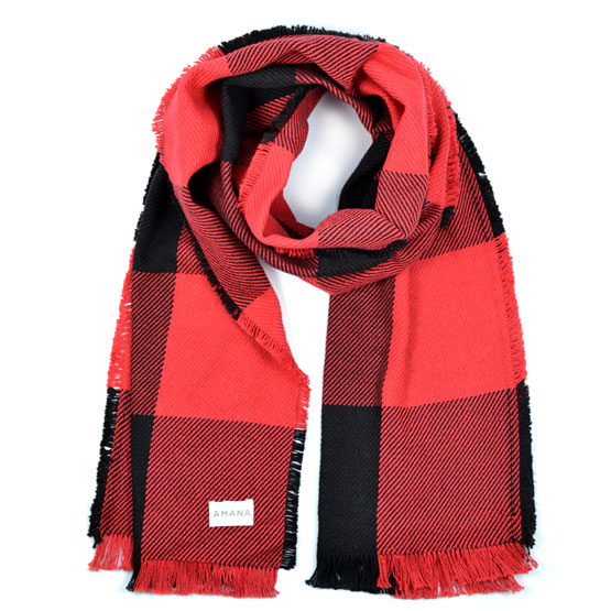 "Rob Roy 16"" Wide Cotton Scarf -Red/Black"