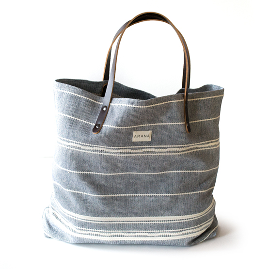 Amana Weave Tote - Navy/Natural