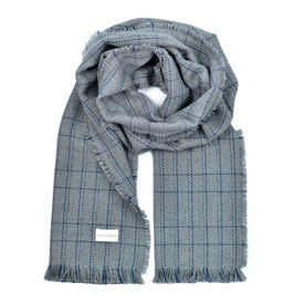 Grid Merino Wool Scarf - Heather Grey/Indigo