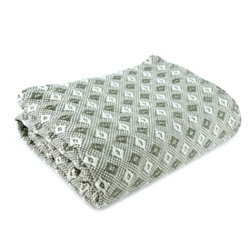 Lily Cotton Throw - Olive/Natural