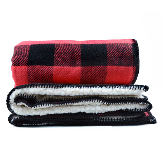 Rob Roy Cotton Throw with Sherpa Backing Red/Black