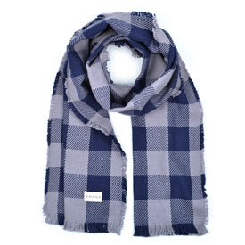 Buffalo Check Cotton Scarf - Navy/Dark Dove