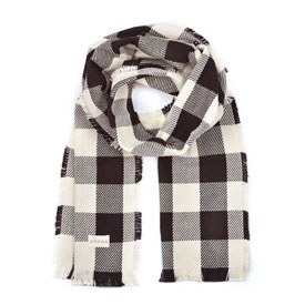 Buffalo Check Cotton Scarf - Black/Natural