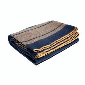 Camp Blanket 100% Wool - Navy/Tan