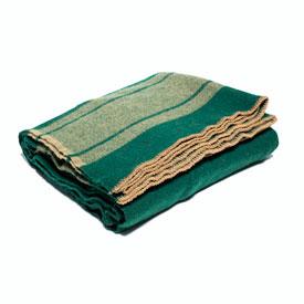 Camp Blanket 100% Wool - Green/Tan