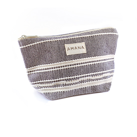 Amana Weave Cosmetic Bag - Navy with Natural Stripe