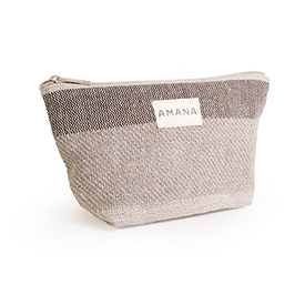 Eco2 Colony Stripe Cosmetic Bag - Dark Linen