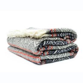 Nordic Wool Throw - Navy/Grey/Burgundy/White