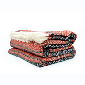 Nordic Wool Throw - Burgundy/Navy/White