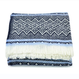 Nordic Wool Throw - Navy/Blue/White