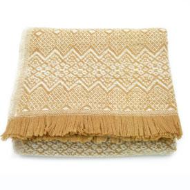 Nordic Wool Throw - Tan/White